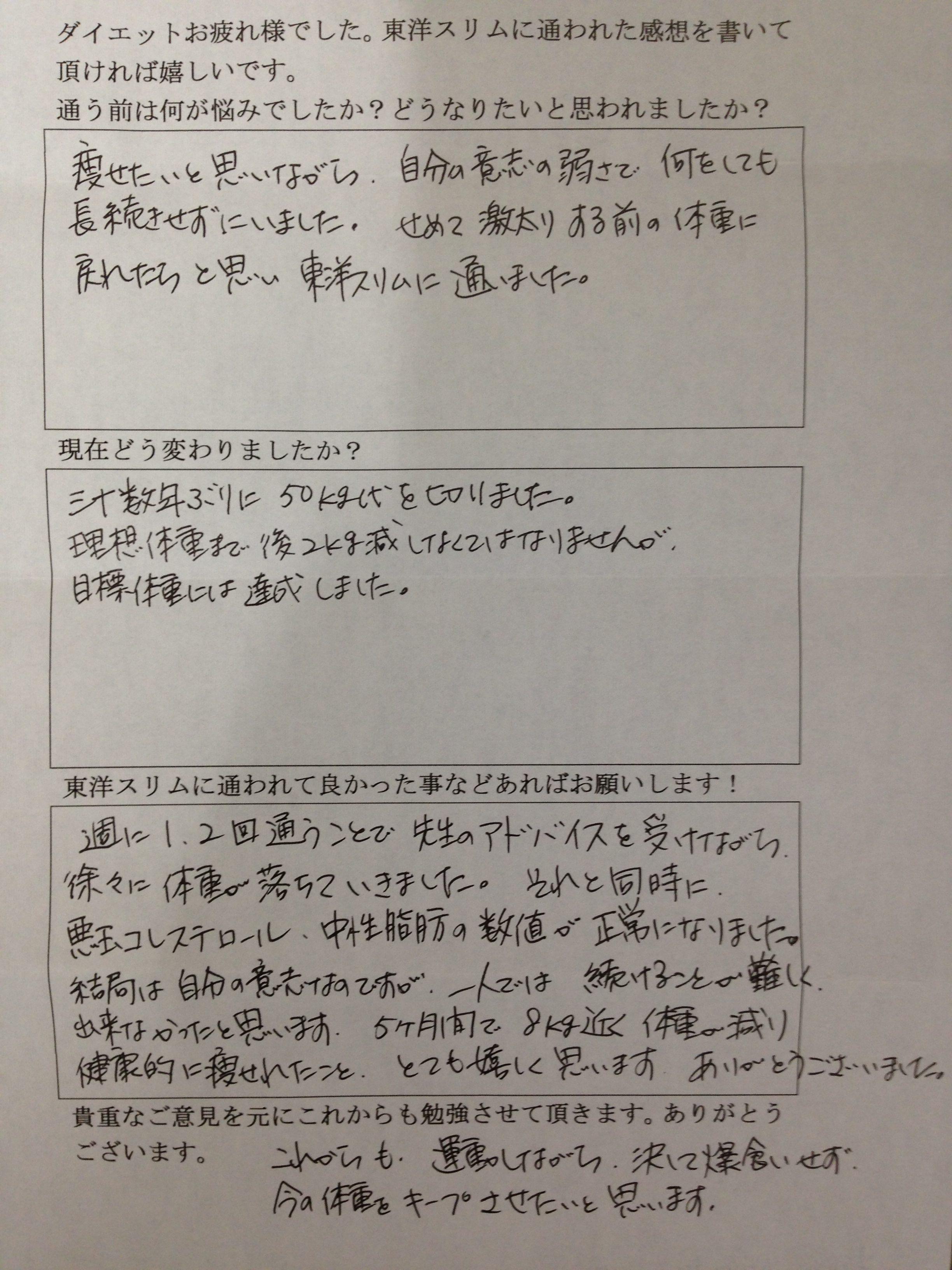 大阪府堺市Kさん59才耳ツボダイエットでー8kg成功。LDL中性脂肪が正常値に。