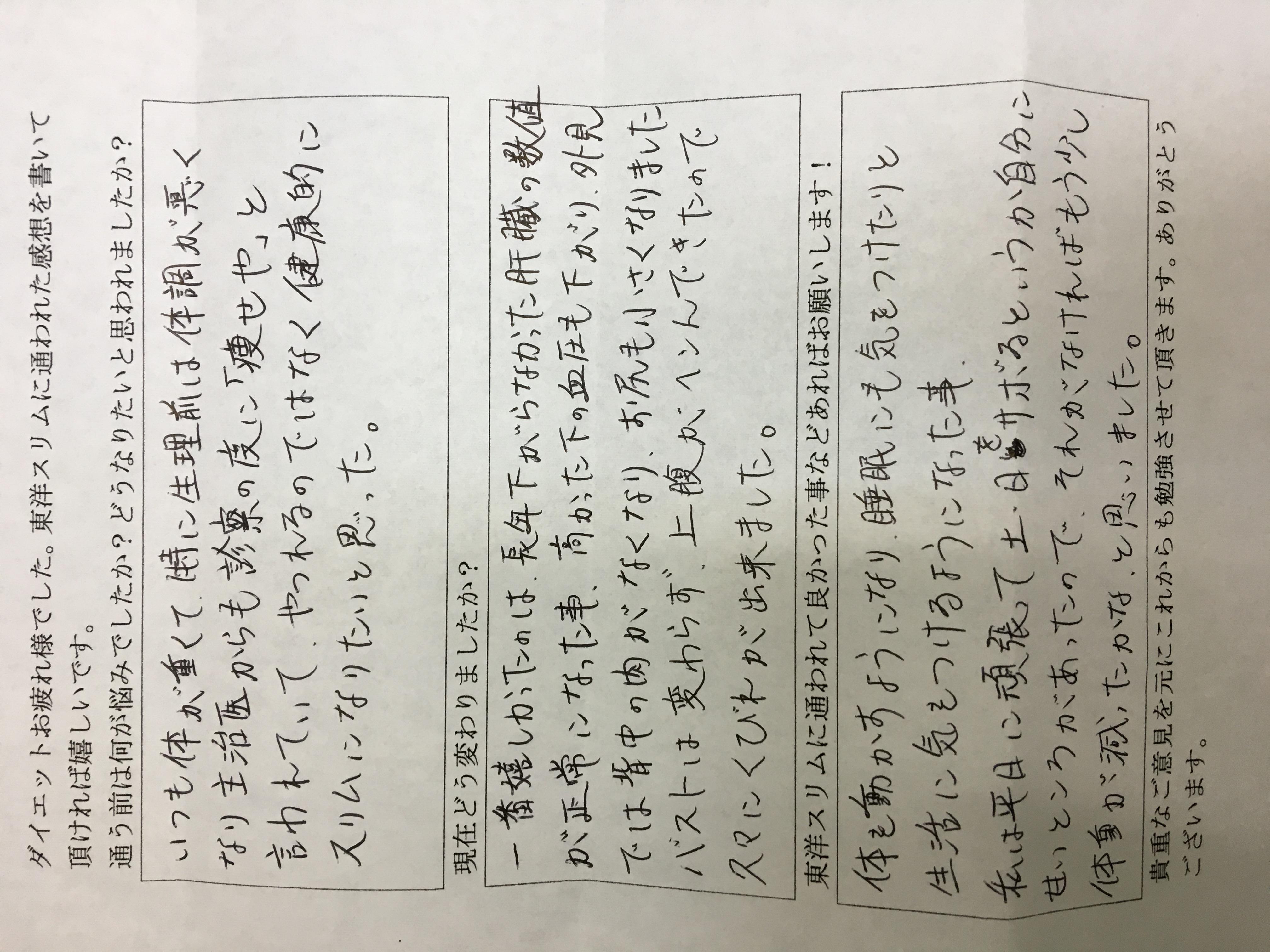 大阪府堺市Hさん43才ー7.2kgダイエット成功 高血圧、肝機能が改善