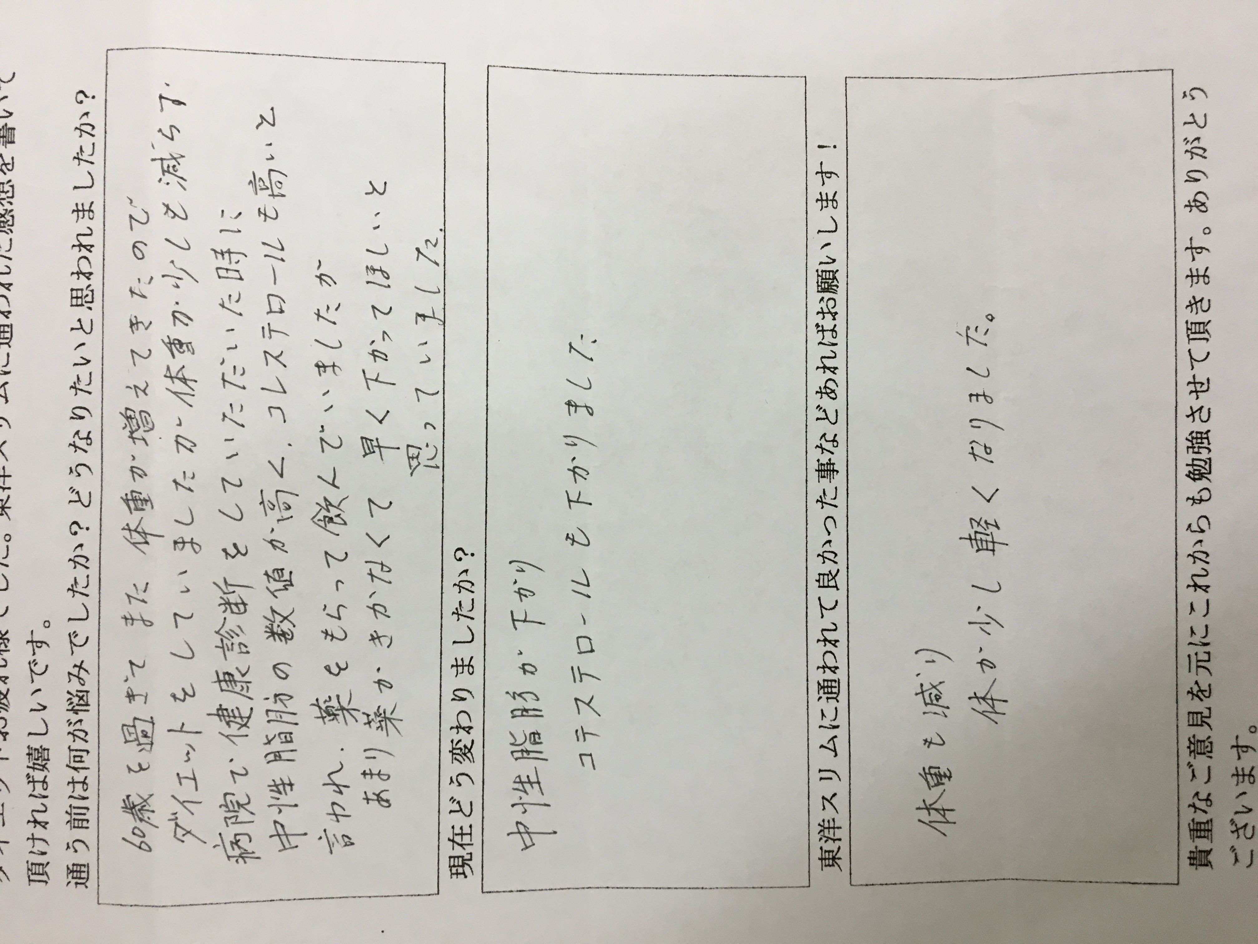 大阪府東大阪市Hさん63才6kgダイエット成功 中性脂肪コレステロールが改善