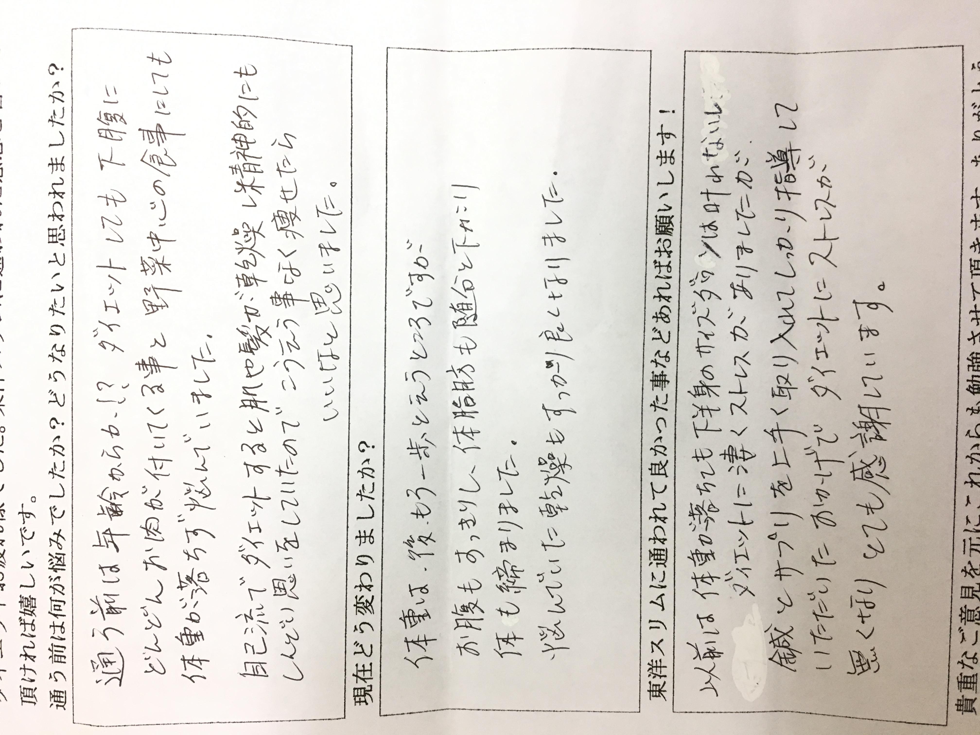 大阪市東成区Hさん52才耳ツボダイエット4kg成功体脂肪率24%に。