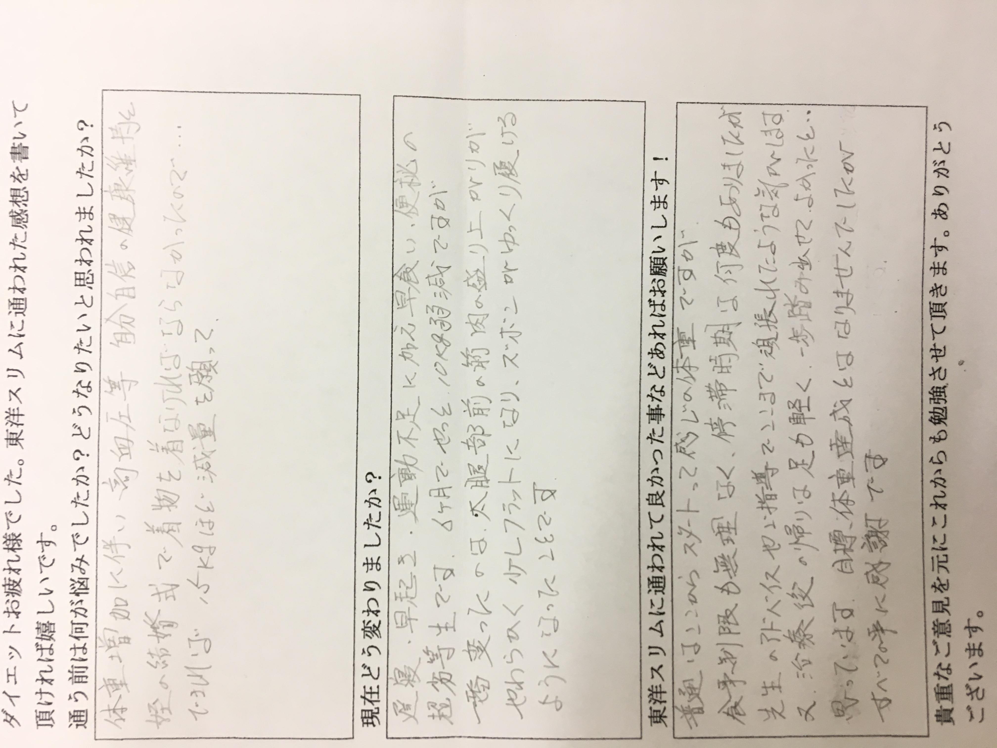 大阪市平野区Kさん耳つぼ痩身法でー11kgダイエット成功