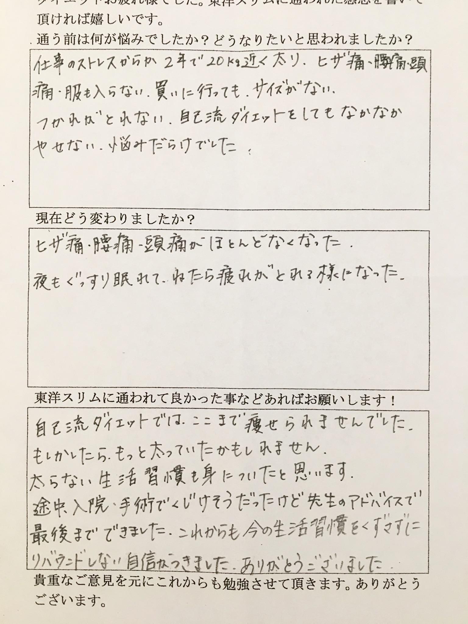 [皆様の声]大阪府八尾市T様(40代)耳ツボダイエット12kg成功。膝痛、腰痛、頭痛がほとんどなくなった。