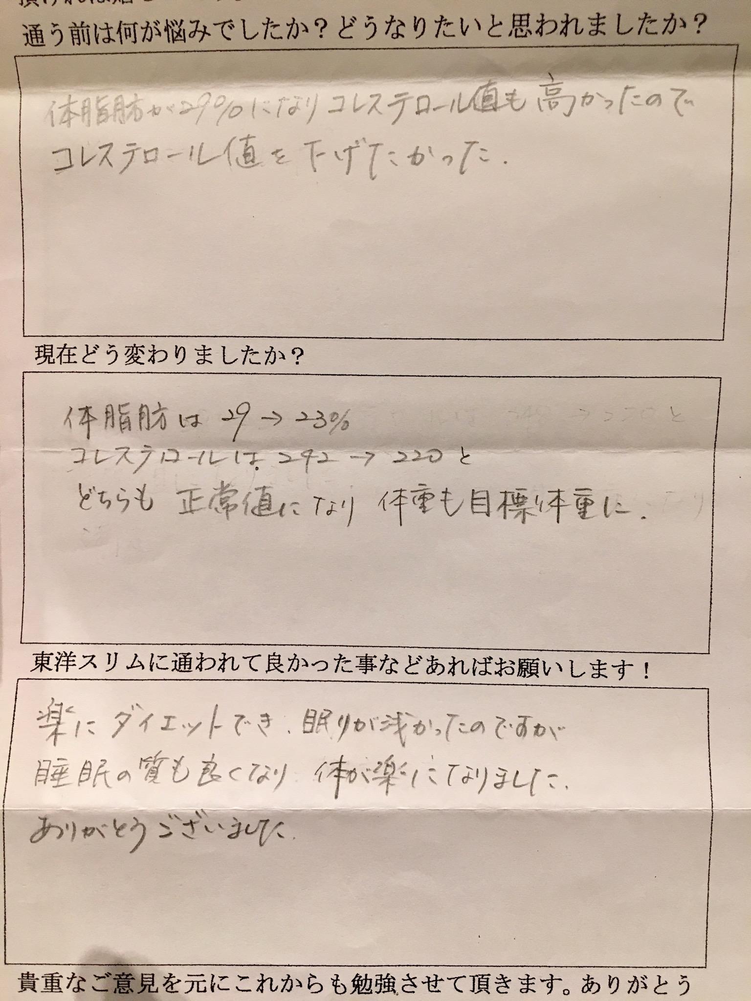 [皆様の声]大阪府藤井寺市A様。体脂肪率24%、夜が良く寝れる。(結果には個人差があります)
